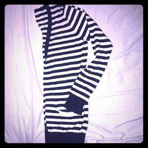 Forever21 baby blue and cream striped cardigan